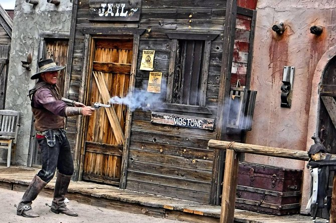 """Purchased ticket may be used on any day of the year (except Christmas/Easter) at either of our two daily performances, 11:30 or 1:00 and if scheduled, 3pm. The longest running Theatre in Tombstone, Az. (over 25 years). Our actors & stuntmen have performed in more than 30 Hollywood films. A great family show where the Good Guy always wins! If you're looking for more things to do in Tombstone we also offer a Shoot'n Gallery, Mini-Golf, Pan-for-Gold, Trolley Tour, Chuckwagon Restaurant and Pancho's Cantina! Settle back in your saddles Partner and enjoy our award winning """"Histarically"""" correct Performance at Old Tombstone!"""