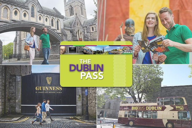 """Enjoy free access to more than25 top Dublin attractions for one great-value price with the Dublin Pass. Get complimentary entry to the famous Guinness Storehouse, Dublin Zoo, Dalkey Castle and other visitor draws and landmarks, and enjoy convenient skip-the-line access to select attractions. Sightsee at your leisure with your free 24-hour hop-on hop-off bus tour. Catch generous discounts at select shops, restaurants and more. Choose from 1-, 2-, 3-, 4- or 5-day validity and, armed with your pass (available as your """"ticket"""" after purchase), enjoy the freedom to create own itinerary, helped by your complimentary Dublin guidebook."""