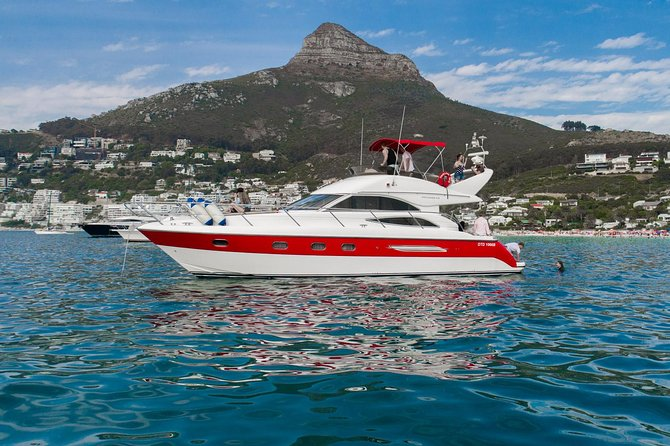 Climb aboard our beautiful 45 foot Princess Yacht and enjoy a relaxing scenic cruise along Cape Town's Atlantic shoreline to Clifton. Spend 45 minutes at anchor in Clifton while enjoying a glass of sparkling wine and snacks. The Yacht can take up to 12 passengers and is completely private.