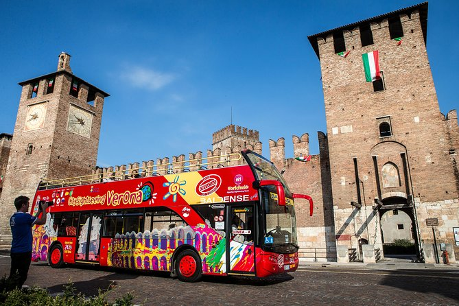 Experience the perfect introduction to Verona aboard this hop-on hop-off sightseeing tour! You'll see all the beautiful sights of the city in a comfortable and secure environment, with full commentary provided. Discover Verona in an open-top double-decker bus with the opportunity to hop-on and hop-off at 16 different stops on two different bus routes whenever you wish, all day long. Tickets are valid for 24 hours.