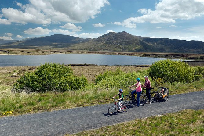 Full day self-guided cycling from Westport on the Great Western Greenway, County Mayo along the Wild Atlantic Way. Bikes available: Hybrid, electric, children and Canadian buggy. Pax: min 1, max 50. Available every day of the year