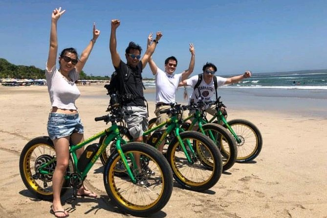 Electric Powered Beach Bike ride, Beach Stretch Ride, Kuta, Legian, Padma, Double Six, Seminyak and Petitinget Beach Ride, Cultural Temple Explanations and Traditional Pork Satay, Culinary Meal Choices, Swings facing the Sea, Beanbags to Relax and Chill on.