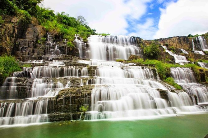 If you are a nature lover and would like to experience the majestic waterfalls, or you are passionate about photography and are looking for the ideal shooting location, this tour is specially designed just for you. You will have a day to discover the four most famous waterfalls in Dalat to immerse yourself in the beauty of nature and the creativity of natural art.<br>Elephant Waterfall: one of the most Powerfull Waterfall in Dalat, discover the windy cave under the waterfall Elephant waterfall<br><br>Pongour Waterfall: The 7 terraces waterfall in Dalat. Biggest Waterfall in Southen Vietnam<br><br>Datanla Waterfall: Taking the roller coaster going from the top of the hill riding through a Pine forest to the foot of the fall
