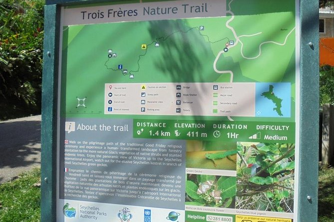 This trail take you to the Trois Freres (three brothers in french) peak. For the mountain enthusiast, a climb up to the summit of the mountain, adorned by lush green vegetation, the sounds of exotic birds, you will be spell bound by the awesome view of the small island nations. <br>This picture perfect view evokes limited words for to describe it. It is worth the climb though tricky, slippery and uneven and slightly dangerous climb. However with a guide and cautious step the rewarding views are beyond description. A guide is highly recommended for the trail and Sez Travel reserves the right to cancel the activity due to bad weather or other circumstances that can compromise the safety of our guests.