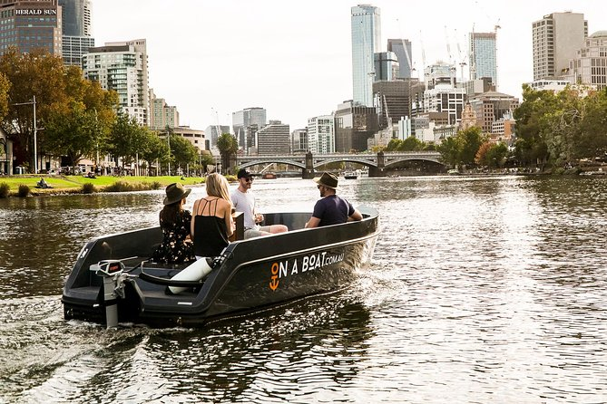 Price is per boat, fits up to 9 people. Captain your own boat on the Yarra River and explore Melbourne's waterways in our easy-to-operate electric boats (no licence or experience needed). Get your crew of up to 9 people and see Melbourne from amazing new perspective.<br><br>• No boat licence required<br>• Up to 9 people<br>• Bring your own snacks & drinks<br>• Suitable for all ages<br>• Dog friendly!