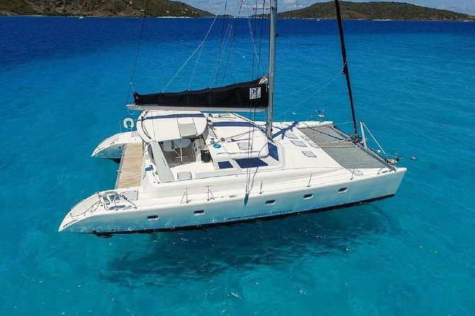 Spend the day on your own 50' Luxury Catamaran Yacht. This price is all inclusive for the Yacht, up to 12 guests. You can select a half or full day charter. Visit the islands of St. Thomas, St. John or the exciting isles of the BVIs.<br><br>Seas the Day's 50′ Luxury Voyage Catamaran has a spacious salon that opens on to an expansive back deck with comfortable seating and dining. The bow of the boat offers relaxing seating with bean bag chairs and two large trampolines for group conversations, breezy tanning or intense turtle, dolphin and whale watching. <br><br>There are plenty of water toys to keep you entertained; from SUP's, snorkeling equipment and relaxing floats to beach games. Price includes ice, soda, beer, rum punch and light snacks. You and our captain will design an itinerary that best meets the needs of your group. <br><br>*Some BVI destinations are w/ full day charters only. Passport and $75pp for BVI Customs. Departure from Margaritaville Restaurant. All time are listed in Local Time Zone