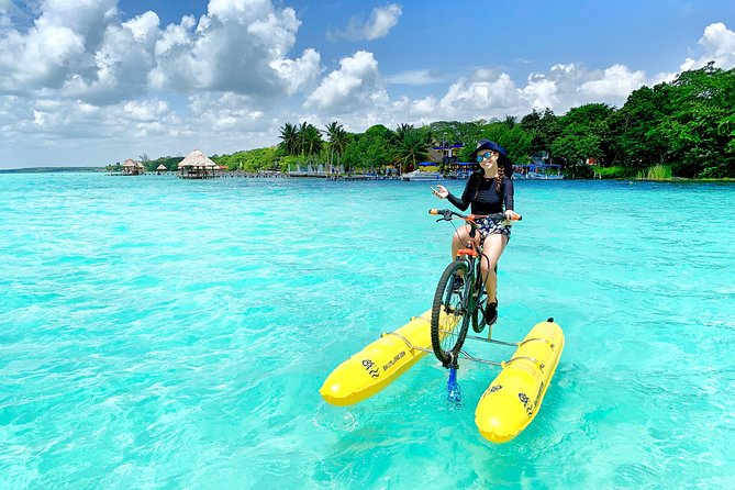 Bacalar Sunrise Experience on Water Bike is an unique opportunity to experience the Bacalar Lagoon at one of the most beautiful times of the day, enjoy a delicious breakfast on a remote beach and fall in love with the colors of this beautiful wonder of nature.
