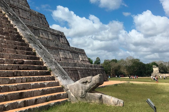 We leave early in the morning in order to arrive to Chichen Itza before it gets crowded and too hot. Once inside the site, we start with the guided visit and then some Free time.<br>Valladolid visit starts with the market place to discover local products before going to the beautiful main square where we will enjoy colonial architecture. Then we'll have a Delicious Mexican lunch.<br>We'll finish with the visit of a Beautiful closed cenote (sink hole) : a natural swimming pool in a cave. You can have a Refreshing swim there, a Relaxing moment before heading back to the hotel.