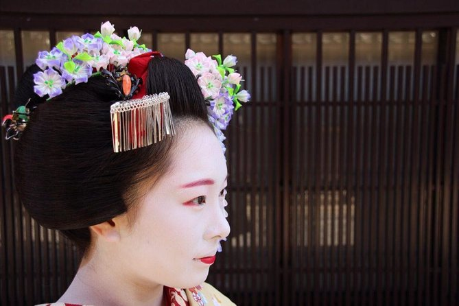 Enjoy participating in a traditional tea ceremony in a traditional tea ceremony room led by an authentic Kyoto geisha(maiko). Your tea ceremony host will be a geisha (maiko) who will introduce you to this Japanese ritual. <br><br>This ticket includes free kimono wearing. It is optional to wear the kimono. If you want to wear the kimono please go to KIMONO Tea Ceremony Maikoya anytime after 11:00 AM. (It takes at least 30 minutes to put on Kimono, so please come to our place at least 30 minutes bofore your reservation time) The walking distance between the kimono venue and the geisha tea ceremony venue is approximately 15 minutes on foot. You can keep the kimono up to 7 hours. You are going to have to return the kimono to the same venue before 6:30PM.<br><br>This ticket includes free Gion walking tour. It is optional to join the walking tour. We have two walking tours starting at 14:00 pm and 17:00 pm taking off from Geisha Experience Gion MAIKO CHAYA. You can join whichever tour you'd like.