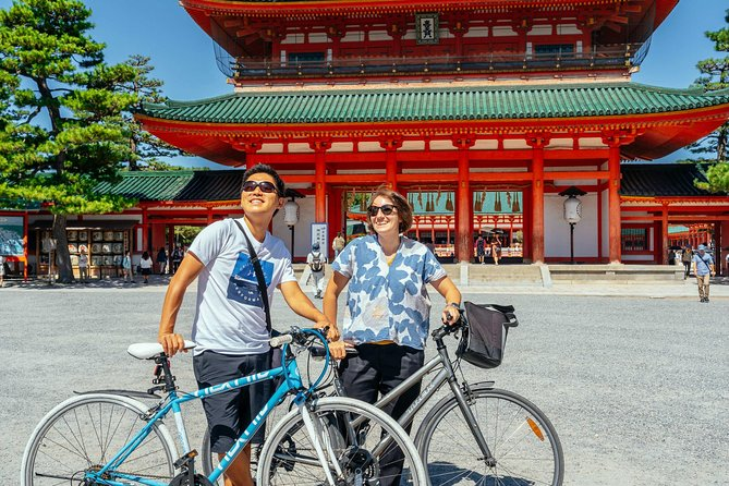 What could be more thrilling than flying through the streets of Kyoto on two wheels!? Experience the joy of the city as you whiz around from Pontocho street to Gion Shinbashi. You'll be surprised by how much you can see when you explore by bike.<br><br>With narrow streets, trendy neighbourhoods, and historical landmarks. By bike, you can see it all. As well as checking out the Imperian Palace and the Heian Jingu shrine, you'll get off the tourist trail and discover a side to Kyoto that only the locals see. Your cycle-loving host will be by your side at all times, so follow their lead for an easy-going ride.<br><br>Next is the iconic Demachi shopping arcade for a real sight into the local life, and the locals' favorite, Pontocho street. Cycle alongside the Kamogawa river in a setting away from the Kyoto crowds. Finally, enjoy a ride through a bike path lined by lots of cherry trees and that it was named after one of Japan's most famous philosophers. Join now and find out more in the private tour.