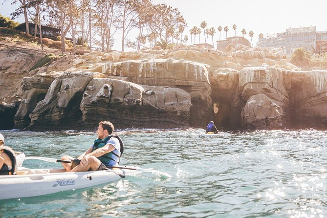 The Original Sea Cave Kayak Tour (90 Minutes in Length) offers unforgettable guided tours through the La Jolla Ecological Reserve. Each tour is lead by experienced guide(s) who ensure participants safely navigate through three of the four ecological habitats, all while seeing different types of marine life that inhabit one of the highest concentrations of sea-life in all of California. Towards the southern end of the Ecological Reserve, La Jolla's Seven Sea Caves patiently await, allowing participants to witness their beauty. Weather permitting, participants can take in breathtaking views from inside Emerald Cave in California's only north-facing cave wall. (Tours may not always enter Emerald Cave, depending safety of the conditions.) Participants must be five years or older to participate in the tour. <br><br>Valid for up to two people to ride in a double kayak.