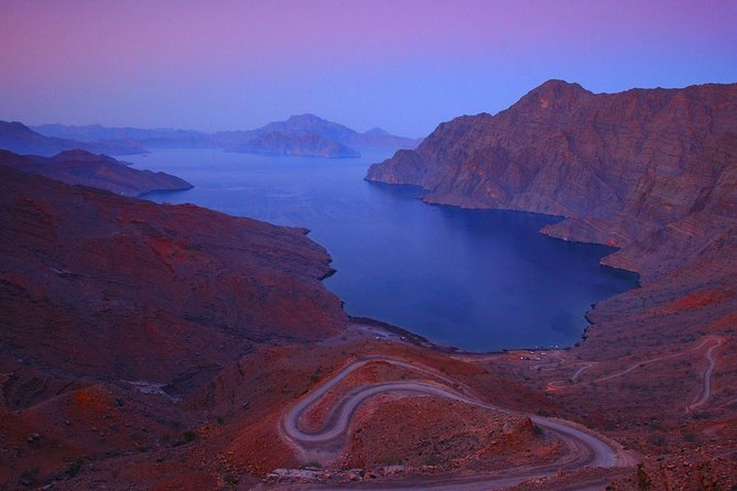 Timings: Morning: 9:30 a.m. to 12:30 p.m.<br>Afternoon: 1:30 p.m. to 4:30 p.m.<br>Using 4 wheel drive vehicles, we go on a panoramic drive into the barren interior; we drive to Jebel Harim (2087 metres above the sea level), the highest mountain Peak of Musandam. This tour will give you an opportunity to enjoy the dramatic scenery of Musandam's mountains, speckled with fossils dating back several million years. On the way we pass the Bedouin village of Sayhe situated at 1100 metres above sea level. This is a calm and peaceful village where one can cherish the beauty of Musandam in the plateau of the village. Drive to Khor Najd, a stunning view overlooking to Indian Ocean side, you will be surprised at the scenery here. This is the most panoramic view of the region. Then we will drive to see the natural park of Acacia trees at Khalidiya and return back to Khasab. Soft drinks and water would be provided during the trip.