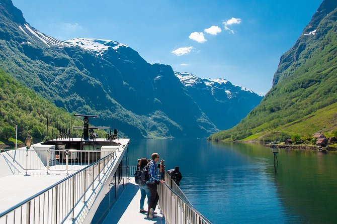 "This guided tour to Nærøyfjord and Flåm is Norway's most popular day tour and will take you through some of the worlds most beautiful scenery. The tour includes a journey on the Bergen Railway, a bus trip, a premium fjord cruise and Flåm Railway.<br><br>The tour starts with the scenic Bergen Line to Voss. At the railway station in Voss we find the bus that takes us through Stalheimskleiva and down Nærøy Valley to Gudvangen.<br><br>In Gudvangen we board the electric ship ""Future of the fjord"".The Nærøyfjord is one of the narrowest fjords in world and the cruise takes 2 hours. In 2005, the Nærøyfjord was incorporated on the UNESCO World Heritage list.<br><br>The trip continues with the Flåm Railway which is one of the world's steepest railway tracks on normal tracks. The 20 km long train journey from Flåm to Myrdal and gives you a panoramic view of some of the wildest and most magnificent of Norwegian mountain nature. At Myrdal station a train changes to the Bergen Line which takes us back to Bergen."