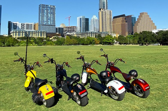"""Your adventure begins with a safety check on your electric mini-bike. Your tour guide will make sure everyone is comfortable with their electric mini-bike. Wide tires make them super easy to ride. We practice riding as a group for safety. <br><br>South Congress is Austin's most prominent street. From where we begin, all of Austin can be seen. We will ride toward the first photo opportunity - The """"Willie for President"""" Mural next to Home Slice Pizza. Next up is the """"i love you so much"""" mural, across from the Continental Club. The tour will meander off city streets when possible, going places cars can't go. <br><br>We realize that capturing great photos to share from a vacation is important. Adventurers who choose this tour will discover interesting destinations in Austin, and will have many opportunities for epic photos to capture and take home. We bring professional photography gear to help with lighting. Your tour guide will share a gallery of photos for every Austin Electric Adventure Tour."""