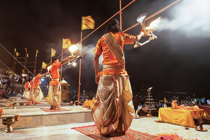 This guided tour will help you unravel the mysticism that has always been associated with Varanasi, it is due to this dimension of the city that everyone in the past longed to come to Varanasi. This amazing tour which is a combination of walking tour & boat ride that includes experience of life energies within during the Ganga Aarti, which is not to be missed, if you really wish to experience Varanasi in its original sense.<br>1. Watch the setting of the sun at the horizon and mesmerize with the stunning beauty of colorful old buildings, ashrams and places.<br>2. Eyewitness the mystic Ganga Aarti; one of the five rituals performed for the worship of sacred river Ganga.<br>3. Witness the rituals performed by local brahmins and sadhus, devotees walking down to the Ghats to offer their prayers to the Mother Ganges.<br>4. Enjoy evening boat ride around Manikarnika Ghat viewing city's most wonderful scenes with great conversation to understand the importance of Kashi, significance of different ghats.