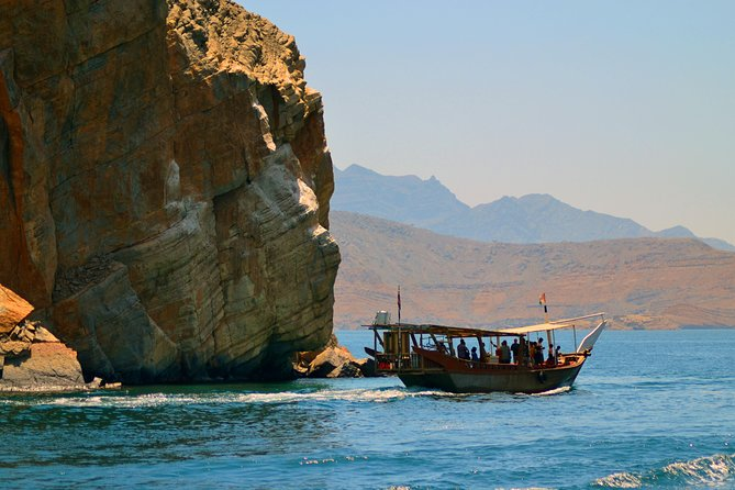 Going on a Dhow Cruise is a fantastic way to see the spectacular Fjords and the surrounding scenery. Our Dhow Cruise takes you to the Khor Sham fjord where the natural community of dolphins are welcoming you to the silence of sea and we do have two anchoring for snorkel and swimming near to the historical Telegraph Island also known as Jazrat al Maqlab and the Seebi Island. Swim and snorkel among the colorful sea life and under water life in Telegraph and Seebi is one of the best ways to make yourself happy in the present is to recall happy times from the past. The experience of witnessing the parade of big marine life finning along the edge of a reef wall tends not limited during your Full Day Khasab Cruise with us. The guests will be offered safety jackets,snorkeling kit and towels as a part of the tour and indeed you will have mouthwatering lunch on dhow.