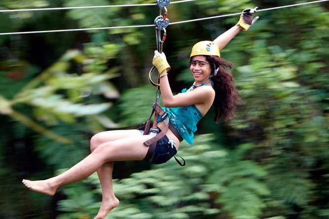 . Nadi Zip line Tour, located near a Fijian Village (Tau)<br>. Amazing Adventure with 5 km of Zip lines woven into a truly <br> spectacular setting of incredible caves, canyons with breathtaking <br> ocean views.<br>. 16 jaw-dropping zip lines.<br>. Highest, fastest and longest zip lines in Fiji.<br>. Two trips daily - 0900hrs & 1400hrs.<br>. Includes Lunch<br>. Dropoff Nadi Airport.