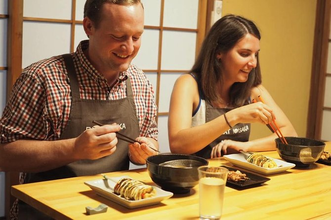 Experience the energy and flavours of a Japanese kitchen in the nation's capital of food! Under the guidance of a local, bilingual chef, you will use professional grade tools (hand-made here in Osaka) to make local dishes completely from scratch and learn to recreate them in at home with our step by step instructions!<br><br>You will discover cooking techniques, learn about Japanese food culture, and have some fun before sitting down with a cold beer or a warm to tea to enjoy your creations alongside your chef and a small group of travellers from around the world!