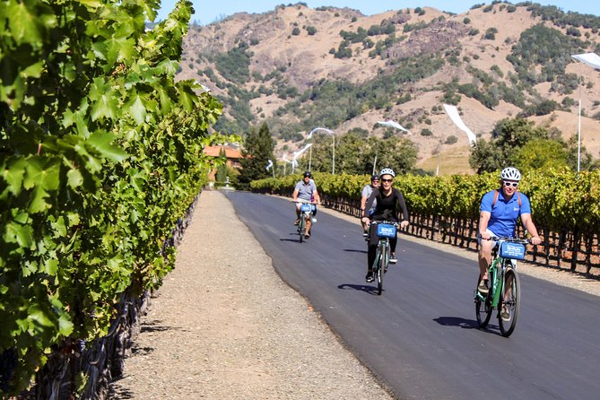 This Sip 'n' Cycle Bike Tour takes you through the quiet and scenic northern Napa Valley. Cycle among famous vineyards and try world-renowned Napa wines while enjoying stunning valley views. You'll stop at 2 wineries along the way. A few favorites are Chateau Montelena, Bennett Lane, Envy, Summers, and Lava Vine.