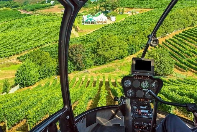 """In a nutshell: <br><br>• Helicopter flight from Cape Town to Stellenbosch.<br>• Guide & luxury vehicle for the full day in Stellenbosch.<br>• Visit 3 wine estates.<br>• Enjoy a traditional South African Braai """"BBQ"""" for lunch.<br>"""