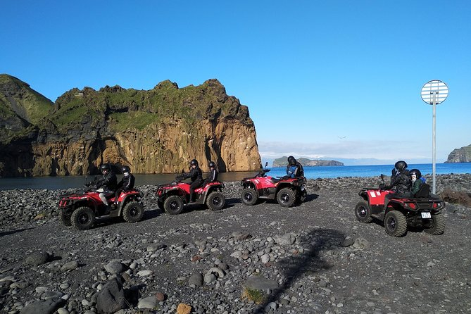 Come and enjoy with us in a 1 hour ATV tour around the Volcano in Vestmannaeyjar and experience the unique view the island and its surroundings have to offer<br><br>During the trip, we will go to Prestvik beach where fishing ship Pelagus stranded, we will also drive around and view the scene where Guðlaugur Friðþórsson came to land after 5-6 km of swimming in the dark and cold sea after Hellisey VE 503 sank. We will drive around the lava and into the middle of the volcano Eldfell and along the coast, where the view is breathtaking.<br><br>This trip is recommended for all the family who will enjoy driving around historical sites of Vestmannaeyjar on a fun riding ATV. The ATV´s are automatic and easy to drive so no specific experience is needed. All ATV´s are 2 person where driver needs to have a driving licence, passengers need to be 6 years or older.