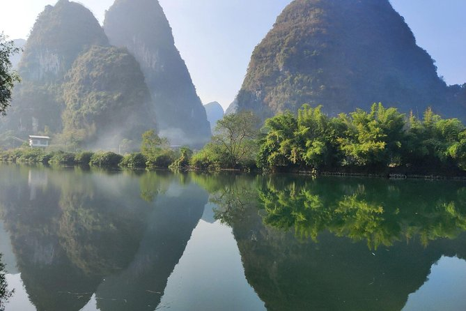 Visit highlights of Guilin and Yangshuo including Guilin Reed Flute cave & Twin pagodas and Yangshuo West street, and Yulong bamboo boat of Yulong river area and Yangshuo Xianggong hill with this private day tour. You will be picked up and dropped off at Guilin train station.