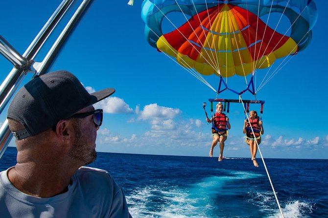 Parasailing offers the opportunity to see Grand Cayman in a whole new way, enjoy a calm yet exciting trip with an eagle's eye view! Join us on our small group tours and enjoy the island from the beach, on the water and in the air!