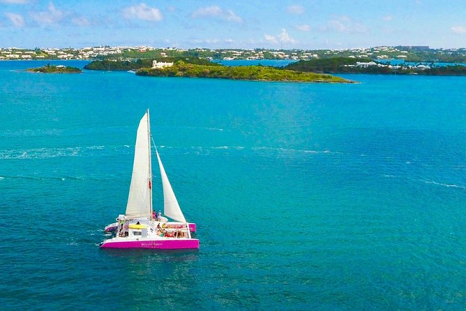 Get the most out of your time in Bermuda with a 3.5-hour sail on a pink catamaran. Your captain makes for a fun guide as he regales you with intriguing historical anecdotes about the island. Spend about an hour sailing around Bermuda followed by 2 hours in a private cove. Feel free to swim, snorkel, explore the cove with our stand up paddle boards and kayaks or just lounge on the boat drinking rum swizzles and eating chocolate chip cookies baked fresh on board daily.