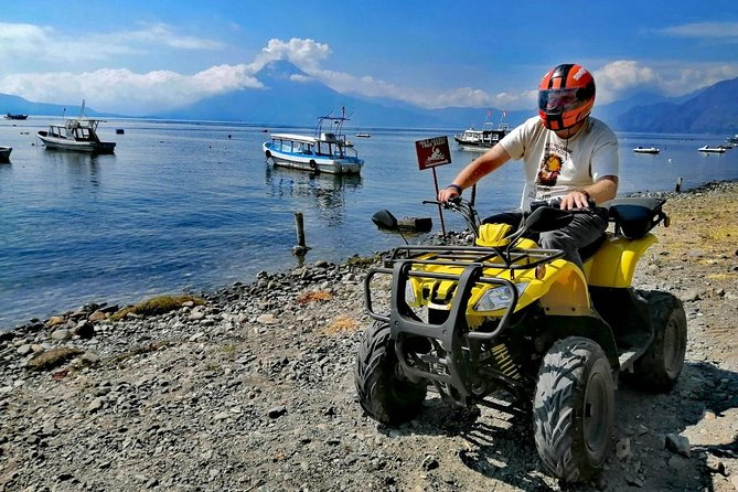 On our amazing Lake Atilan ATV tour we have brought fun and excitement and mixed it in with the beauty and cultural experiences the lake has to offer. We depart from our office in Pana and head over to our first stop, which is San Antonio Palopo, on the local road that runs around the edge of the lake. Once in San Antonio, we park at the local pier and walk over to the local ceramic factory where we visit and learn about the process to make all these incredible goods. Once finished in San Antonio we head back towards Pana but we stop at the village of Santa Catarina Palopo. During this stop we are able to learn and see local weaving, blankets, and many of the local goods made at this village. We also visit the local cultural center where we can taste some local coffee and chocolate, and lastly head over to the dock where we can do some shopping or grab a snack and drinks at the waterfront restaurant. Our last stop, we head over to Playa Blanca en Barrio Jucanya for some pictures.