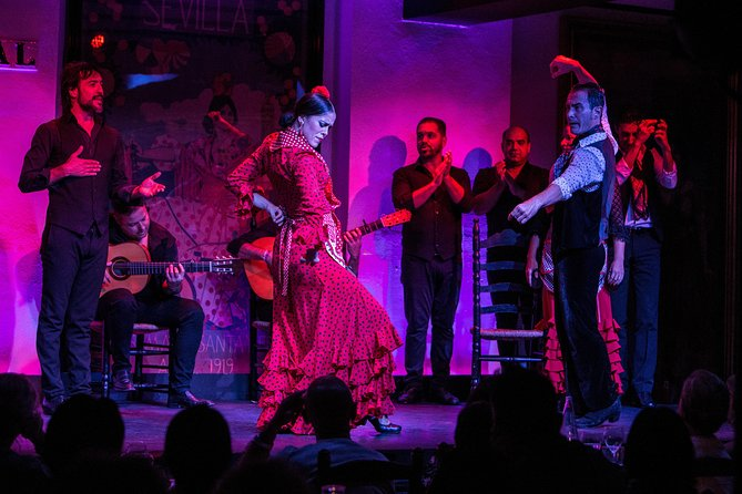 Experience authentic Andalusian flamenco at the esteemed Tablao Flamenco El Arenal in Seville. Often considered one of the best flamenco bars in the world, Tablao El Arenal hosts an approx 75 minutes show where up to 15 of Seville's best dancers perform a flamboyant flamenco. Sit down to watch the electrifying performance with drinks and either tapas or a 3-course dinner -- the choice is yours!