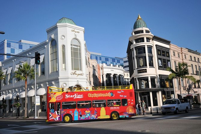 Starline Tours' Hop-On Hop-Off, City Sightseeing buses showcase the very best Los Angeles has to offer. <br>Visit famous sights, attractions, museums, from classic Hollywood to the historic Downtown Los Angeles to the stunning coastal landscapes and legendary beaches of Santa Monica and Venice Beach. <br>Choose from 24-hour, 48-hour and 72-hour passes, giving you the freedom and flexibility to see the city on your own schedule while enjoying the comfort and convenience of our open-air double-decker bus service, delivering incredible adventure and great value for your money. <br>Our system is simple – just purchase your ticket, then board our buses at any of the stops we maintain throughout the greater Los Angeles area, sit back, and soak up the sunshine on our open top bus whilst we whisk you away. <br>