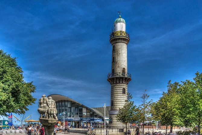 Warnemünde walking tour with photo stops (1 hour) and walking tour of Rostock old town (4.5 hrs). From Warnemünde you take the train/tram to Rostock and you will see the Kröpeliner Straße and the Kröpeliner Tor, the New Market Square, the Rostock City Wall and gates, the Town hall, St. Marien Church, the University, etc. Then return to Warnemünde.