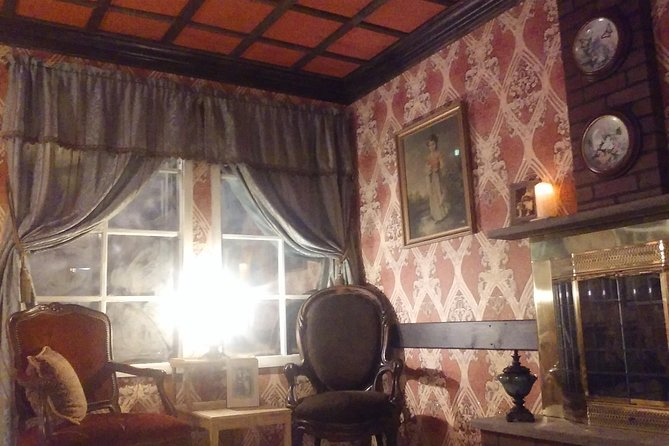 """While this Haunted Escape Room is not """"scary"""", it IS certain to 'startle' everyone in your party. Breaking the confines of other escape rooms, this Haunted manor house is multi-level and multi-roomed with lots of places to explore on your quest to banish the 'spirits' and escape."""