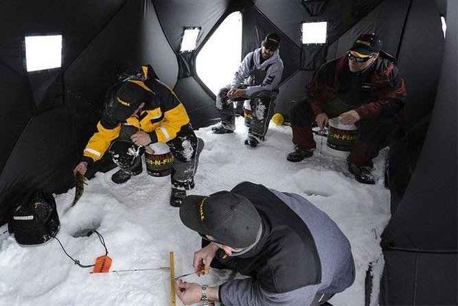 This is an experience that you will remember and look back on you simply can't forget ice fishing with friends and family it's a great bonding experience.<br><br>A day plan would go as follows<br><br>We can then decide if you would like to go to a fishing spot that I have planned or one that you suggest as long as it's not too far.<br>Then when we arrive we will unload the gear onto sled and tow it out to the fishing location on the lake clear some snow if there is any and setup the ice fishing tent ( should only take 5 min or less) and start to drill some holes in the ice with the auger and set some hooks around while we actively fish from the ice fishing tent out of the wind.<br>If we catch we can either fry it up in the tent or you can take it home if you want it's up to you.<br>I will provide food and drink on the ice but you can also bring your own if you choose all are welcome. <br><br>