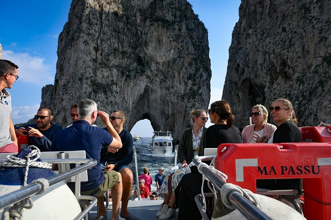 Enjoy the beauties of the island of Capri from the sea! You will discover the wonders of the most beloved island of the world. Let yourself be overwhelmed by the view of the famous Faraglioni, the numerous caves and their striking colour effects, as the most famous of the world: The Blue Grotto.