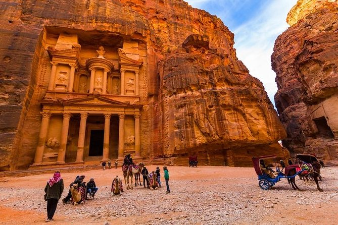 Your Ultimate destination is the astonishing rose-red city of Petra! Experience Petra Archaeological Park which is considered a tourism and archaeological site, and a World Heritage registered on the UNESCO World Heritage. We offer full transportation plus assistance of our team when crossing the borders. Option of different guides languages so you experience Petra to the fullest. Fully assistance when crossing the border, all transportation in our new model air-conditioned vehicles is also included. Enjoy our extended tour of Petra, the 2.000 years old city departing from Eilat. You'll visit the most famous and iconic highlights of the site, with a 2 days ticket included.