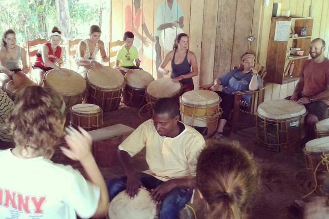 """An authentic and interactive Garifuna drumming lesson for all ages. Join a whirlwind introduction to the fascinating and unique culture and music of the Garifuna people of southern Belize. Fun for all ages, abilities, backgrounds, even if you've never touched a drum in your life. Everyone loves learning to play the Garifuna drums. Your instructor will give you a brief history of the unique UNESCO recognized Garifuna people, music and culture. He will then launch straight into your drumming lesson, teaching you a selection of beats on your own large """"segunda"""" bass drum before joining in on his own drum with dynamic and fast rhythms and songs."""