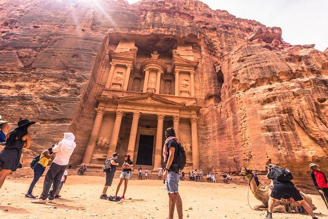 Enjoy a guided tour of the 'lost city of Petra' , including the important highlights that this wonder of the world holds including the Siq, Obelisk Tomb, Calligraphy, Treasury, Tombs, Theater, Mountaintop Tombs.<br><br>Eat an authentic Jordanian lunch at Arabic restaurant serve delicious local cuisine.<br><br>Overnight accommodation in a Bedouin campsite at Wadi Rum enjoying the Bedouin hospitality and authentic meals (If you wish to stay in a hotel in Aqaba there is an option to stay at a hotel during the winter season when temperatures are low instead of a tent)<br><br>Enjoying the Bedouin hospitality and authentic meals.<br>Explore Wadi Rum in a Two hours jeep safari through the breathtaking lunar-like desert landscape.