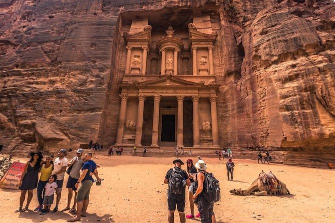 Pickup from your accommodation/hotels in Eilat and to Aravah border with our professional assistance.<br>*Enjoy a guided tour of the 'lost city of Petra' (entrance fee included), including the important highlights that this wonder of the world holds including the Siq, Obelisk Tomb, Calligraphy, Treasury, Tombs, Theater, Mountaintop Tombs.<br><br>* Jordanian English-speaking tour guide in Petra site.<br>* Transfers are in new model air-conditioned vehicles.<br>* View the stunning contrast of desert landscapes and fertile plains .<br><br>* Eat an authentic ,Tasty, delicious and traditional Lunch at a local restaurant <br><br>* Spend night in a Bedouin campsite in 'Valley of the Moon' the Wadi Rum <br><br>including dinner and breakfast <br>* Explore magical landscape two hours jeep safari tour in Wadi Rum.<br>* Transfer back to hotel, border crossing in Aqaba and Transport from the border to Eilat.
