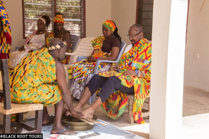 THIS ACTIVITY IS PURPOSELY FOR AFRICAN-AMERICANS VISITING KUMASI,CAPE-COAST AND ACCRA GHANA FOR A TYPICAL TRADITIONAL NAMING CEREMONY, WHICH THEY WILL BE GIVEN NAMES DUE TO THE DAY YOU ARE BORN AND GIVEN A TYPICAL ASANTE NAME. YOUR NEW ASANTE NAME WILL BE WRITTEN ON A WEAVED KENTE SCRIPT AND A CERTIFICATE WILL BE PRESENTED TO YOU BY THE ASANTE CLAN THAT PERFORMED THE NAMING CEREMONY. AFTER THE TOUR YOUR WILL HAVE THE CHANCE TO VISIT THE NTONSO ADINKRA CLOTH STAMPING VILLAGE AND ADANWOMASE KENTE WEAVING VILLAGE.