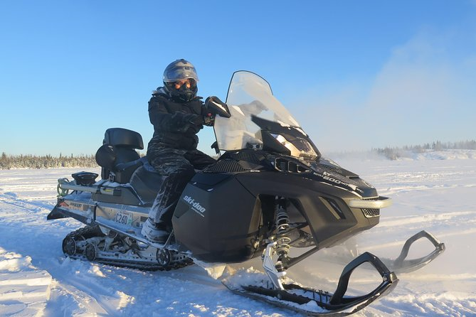 Go for a fun and exciting snowmobile ride through the wilderness and on the frozen lakes of northern Canada! Snowmobile on the winter wonderland of the frozen wilderness of northern Canada! While on the frozen lakes, shut off your snowmobile and listen to the quietness of Mother Nature, while breathing in the cool, clean healthy and fresh air! Great photo opportunity!<br>Warmup around the crackling wood stove in our cozy cabin and enjoy hot drinks and snacks, then head back onto the trails and frozen lakes for more fun and excitement!
