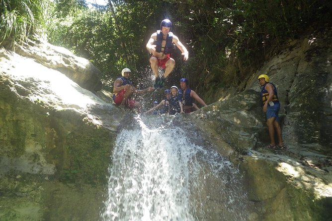 Due to new Covid-19 protocols, only the first 7 Falls are currently open. Please choose that pricing option. One of the top ten things to do in Puerto Plata. Whether you choose to hike, slide, swim and jump your way down all 27 Waterfalls or choose to only go to the Midway 12 of the 27 the Waterfalls of Damajagua, these adventures will undoubtedly be the highlight of any visit to the north coast and they are definitely the Dominican Republic's finest excursions for adventure seekers! Tour operates from Cabarete, Sosua and Puerto Plata. NO pick up from Punta Cana, Bavaro, Santo Domingo, Santiago, Samana, Las Terrenas.