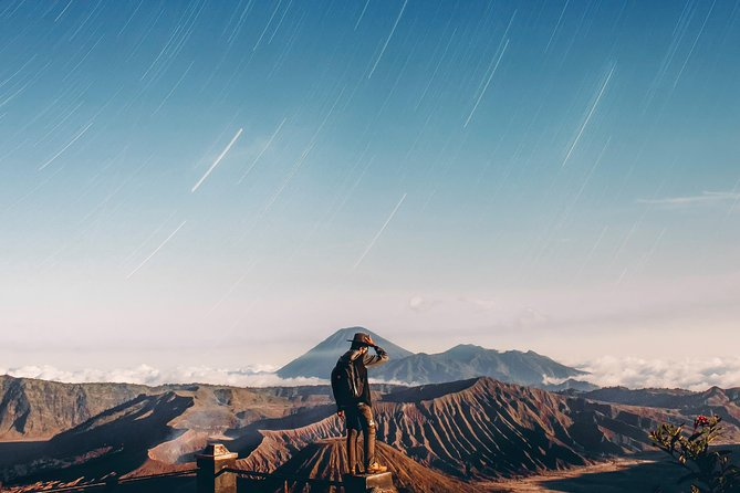 Discover one of Indonesia's best kept wonders with an exciting tour to Mount Bromo from Surabaya or Malang<br>Feel safe and secured with a professional English, Chinese, Japanese, German, or Indonesian speaking guide leading the way<br><br>If you're looking for a new adventure then a trip to Mount Bromo will definitely do the trick! Start your exciting expedition with a convenient hotel pick up and then a thrilling ride on a 4WD jeep to Mount Penanjakan where you will witness the perfect sunrise view. Enjoy a cup of coffee in hand while awaiting the peak of the beautiful Bromo sunrise. After the sun ascends the sky, you will head over to Mount Bromo's crater and marvel at the spectacular sight of the circular basin plus a chance to climb upwards to explore the area. Come down from the high of panoramic views atop the volcano and enjoy a hearty breakfast at a local restaurant before heading back to your accommodation in Surabaya or Malang.
