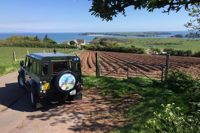 This flagship tour is a must for anyone wanting to make the most of their time in Pembrokeshire. Departing from Tenby, it will follow the breathtaking coastline as well as the rural side of the county.<br><br>Expect to see world class beaches, magnificent coastal views, wildlife, local produce, heritage and sights of interest.<br><br>We use the legendary Land Rover Defender 110, equipped with six forward facing seats for added comfort and viewing hight. The vehicle holds a full Private Hire License from Pembrokeshire County Council.<br><br>Don't forget your camera!