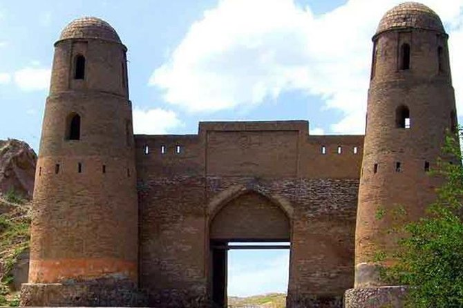 """HISSAR FORTRESS (3000 years old) — located 26 km from Dushanbe (West). The fortress is an open-air Museum. A number of legends from the work of A. Firdousi """"Shahname""""are connected with the Hissar fortress. <br>Hissar is the capital of the province of Eastern Bukhara and was in the hands of the Governor of Emir Ibrahim Bey until 1924, when he was defeated by the red army. The fortress overlooks the market square, surrounded by a caravanserai and two madrasas, one of which is an ethnographic Museum. Other unique historical finds near the Hissar fortress are the Mausoleum of mahdumi Azam, Masjidi-I-Sangin (""""Stone mosque""""), and the natural source of Chashmai Mohien"""