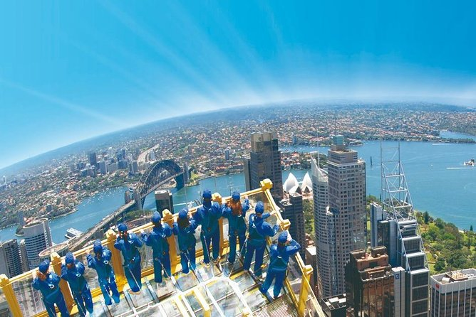 This breathtaking 60 minute experience is not for the faint hearted. Dressed in protective clothing and tethered by a safety harness you'll see the glittering sights of Sydney from a whole new perspective. Feel the high altitude breeze on your face and listen to the commentary from your expert guide.<br><br>Once you come down from the clouds the adventure continues with an included visit to the 4D Experience - a ground breaking 3D film with spectacular in-theater effects and a breathtaking fourth dimension that gives an amazing view of the city.<br><br>And if you still want more you can continue to the Observation Deck to have a birds-eye view and pinpoint the local landmarks.