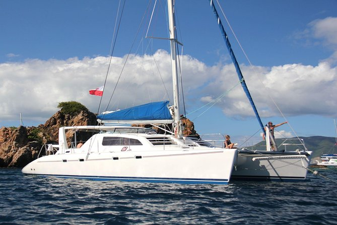 Experience the fun of adventure of private day charter, captain's old tails of The Caribbean. Excursion with customized itinerary, catamaran sailing with small group (min 6, up to 10) tour from St Maarten. You will head out to sea, stopping at beaches of Fourche Island and Sint Bart's for sunbathing, swimming, snorkeling and stand-up paddle boarding.<br>While catamaran starts sailing to Fourche Island (Île Fourchue), our hostess will start serving, coffee and snacks; croissants or sandwiches, fruits, soft drinks. After first stop on Fourche Island, we serve a light lunch, usually sandwiches with cold cuts or cheeses. When we start sailing back from Sint Bart's to St. Maarten we serve delicious buffet style foods. Through all day we offer a variety of sodas, juices, beers, and hard liquor drinks (open bar).<br>All you have to bring on board is beach towels, sun protection and a smile.<br>Return is planned around 6:00pm. For smaller group flat charges apply, please contact an operator directly.