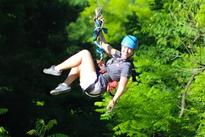 With speeds up to 60mph and zipping in the air at about 500 ft high, taller than the Statue of Liberty the Goliath Zip line is an exhilirating experience incomparable to other zip lines in town. No other zip lines can come close - faster or higher.<br><br>Discover Foxfire Tour is added free with this package which includes a hiking trail up to the Lost Mine waterfall and a trail running beside the creek.