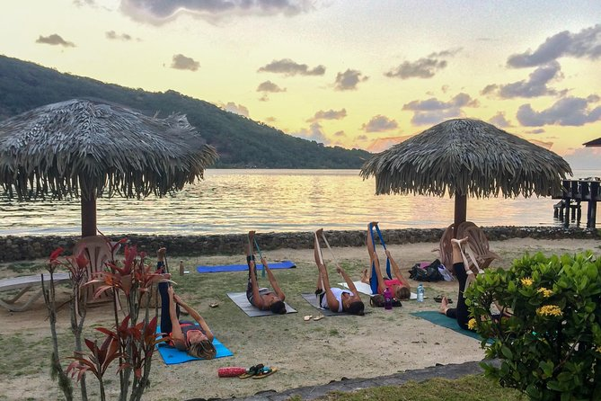 I come to you all around Mo'orea but allow you to enjoy a distressing and well-being moment surrounding by paradisiac nature.<br><br>We can decide together, in advance, you goals for the class : relaxation, stretching or workout ?! You decide ! ;)