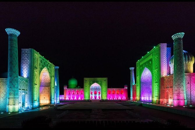 "Rome of the East! Pearl of Asia! Amazing Samarkand!<br>With us in one night you will be able to get acquainted with the magnificent city and make a great photos of Night Registan. And again you will be sure that not without reason Alexander the great said that ""More beautiful than I expected"""